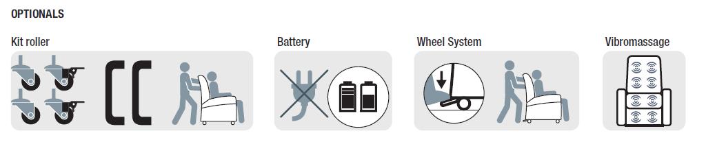 batteria ruote e altri optional poltrona