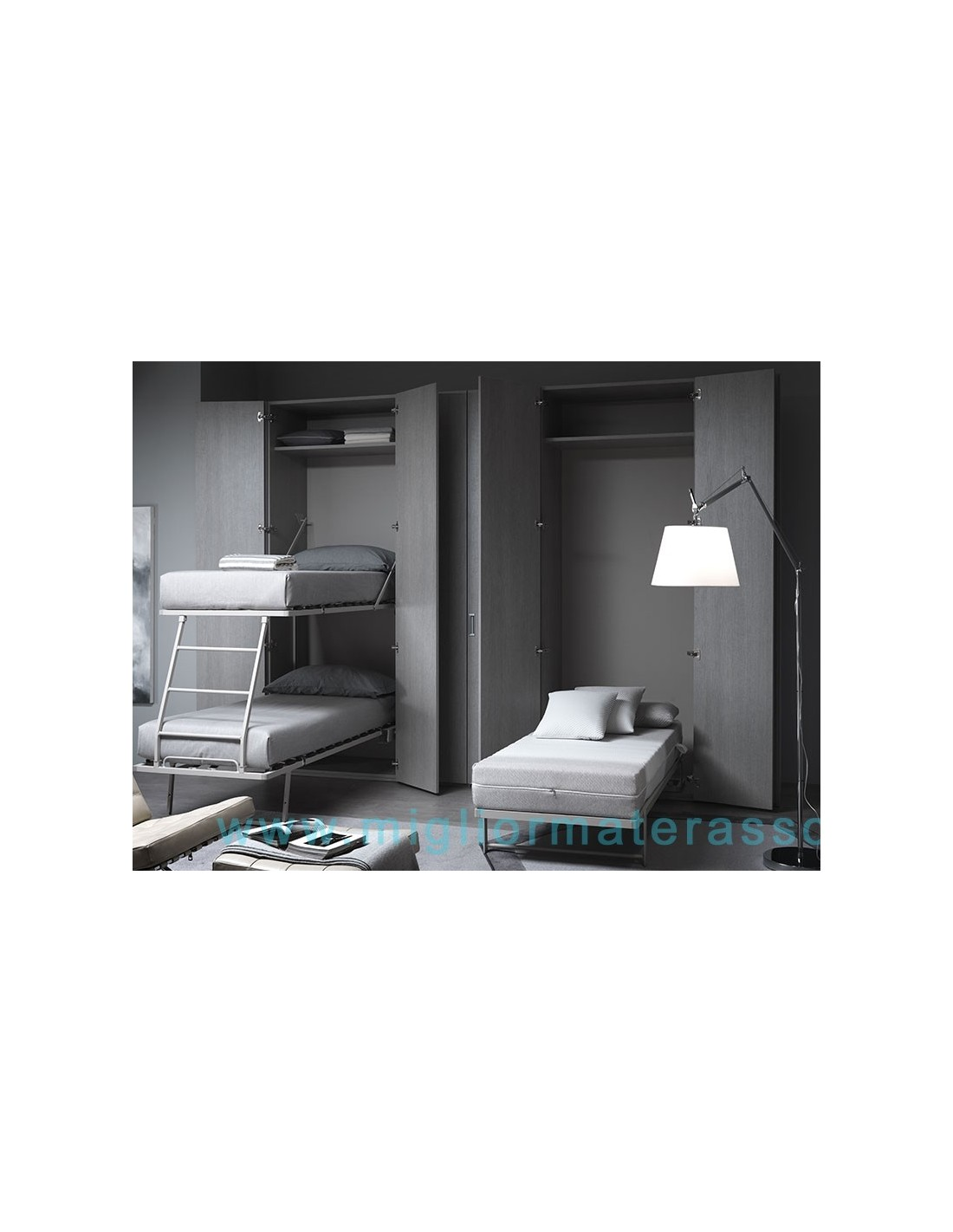Zippo bed inside a wall with mattress to save your space 1 bed - Letto matrimoniale scomparsa ...