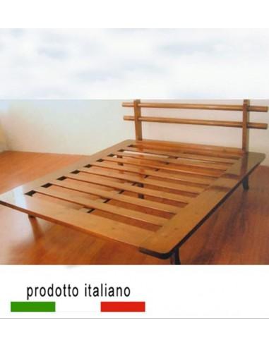 Banzai il letto legno massello matrimoniale in stile orientale - Letto matrimoniale alto ...