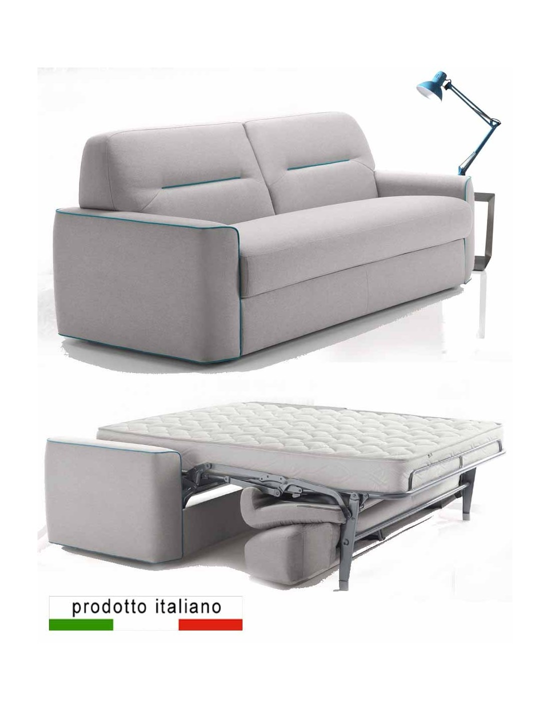 Divano letto piazza e mezza francese con materasso 140x190 - Materasso divano letto una piazza e mezza ...