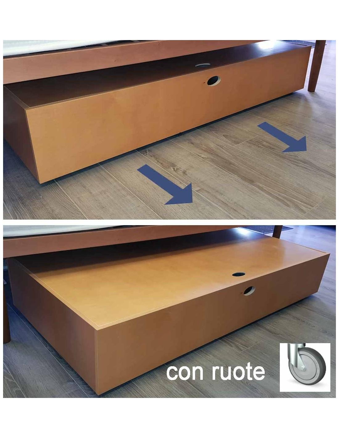 Sotto il letto cassettone contenitore in legno con rotelle - Letto a cassettone ...