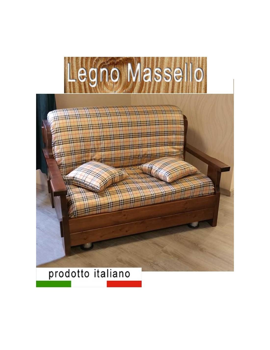 Prontoletto legno massello divano stile country arte povera