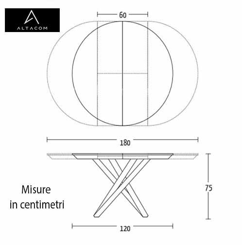 misure tavolo tondo